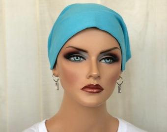 Head Scarf For Women With Hair Loss. Cancer Headwear, Chemo Hat, Alopecia Head Wrap, Hair Wrap, Head Cover, Turban, Cancer Gift, Sky Blue