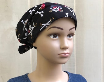 Kid's Chemo Hats For Girls With Hair Loss, Ages 2 - 10, Childhood Cancer, Cancer Gifts, Pirates