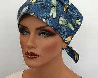 Sandra Women's Surgical Scrub Cap, Cancer Hat, Chemo Head Scarf, Alopecia Head Cover, Head Wrap, Headwear, Hair Loss - Blue Dragonflies