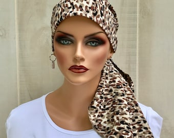 Animal Print Pre-Tied Head Scarf For Women With Hair Loss, Gift For Wife, Chemo Headwear, Beige Animal Print