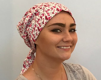Gabrielle Pre-Tied Head Scarf -Women's Chemo Hat, Cancer Scarf, Alopecia Headwear, Head Wrap, Head Cover, Hair Loss. Cranberry Red Flowers