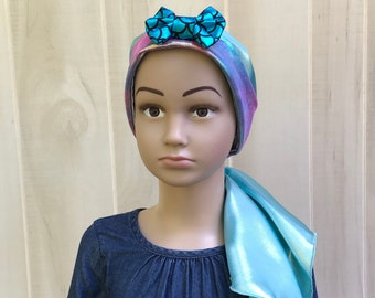 Child's Pre-Tied Head Scarf For Girls With Hair Loss, Gift For Daughter, Chemo Hat, Blue Mermaid