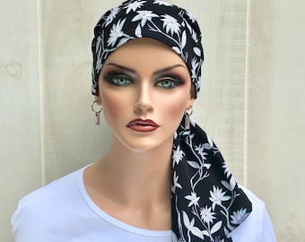 Pre-Tied Head Scarf For Women With Hair Loss, Cancer Gifts, Chemo Headwear, Navy Blue And White Floral