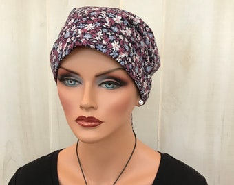 Head Scarf For Women With Hair Loss. Cancer Headwear, Chemo Hat, Alopecia Head Wrap, Head Cover, Turban, Cancer Gift, Mauve Flowers