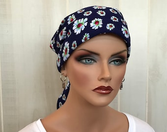 Women's Head Scarf, Cancer Headwear, Chemo Hat, Alopecia Head Wrap, Head Cover, Hair Loss, Cancer Gift, Chemo Gift, Navy Blue Daisies
