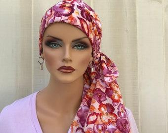 Women's Pre-Tied Head Scarf, Cancer Headwear, Chemo Scarf, Alopecia Hat, Head Wrap, Head Cover, Turban Hair Loss, Purple Burnt Orange Floral
