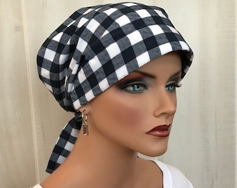 Pre-Tied Head Scarf, Women's Cancer Headwear, Chemo Hat, Alopecia Head Wrap, Head Cover, Hair Loss, Cancer Gift, Chemo Gift, Navy Plaid