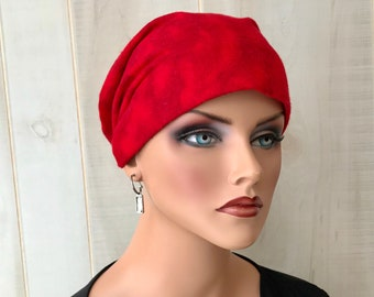 Women's Flannel Head Scarf For Hair Loss, Gift For Mom, Chemo Headwear, Christmas Red