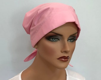 Sandra Women's Surgical Scrub Cap, Chemo Hat, Cancer Scarf, Alopecia Head Wrap, Head Cover, Cancer Gift, Hair Loss, Light Pink