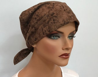 Sandra Women's Surgical Scrub Cap, Chemo Hat, Cancer Scarf, Alopecia Head Wrap, Head CoverCancer Gift, Hair Loss, Brown Floral