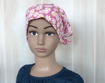 Children's Head Scarf, Girl's Chemo Hat, Cancer Headwear, Alopecia Head Cover, Head Wrap, Cancer Gift for Hair Loss Gift, Pink Daisies