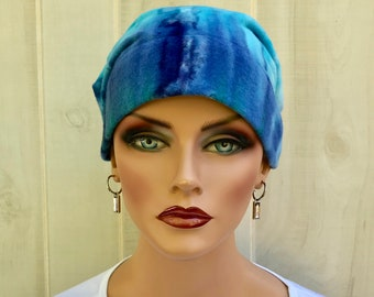 Womens Flannel Head Scarf For Hair Loss, Chemo Headwear, Gift For Daughter, Blue Tie Dye