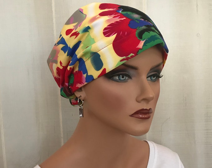 Featured listing image: Women's Head Scarf, Cancer Headwear, Chemo Hat, Alopecia Head Wrap, Head Cover, Hair Loss Gift, Cancer Gift, Chemo Gift, Bright Tie Dye