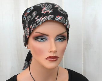 Pre-Tied Head Scarf, Women's Cancer Headwear, Chemo Hat, Alopecia Head Wrap, Head Cover, Hair Loss, Cancer Gift, Chemo Gift, Black Paisley