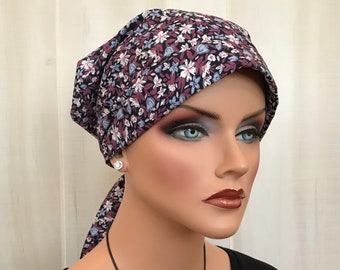 Women's Head Scarf, Cancer Headwear, Chemo Hat, Alopecia Head Wrap, Head Cover, Hair Loss, Cancer Gift, Chemo Gift, Mauve Flower Garden