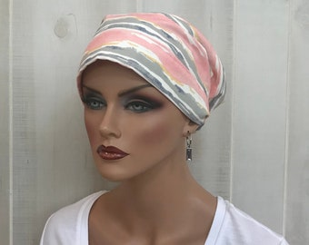 Head Scarf For Women With Hair Loss. Cancer Headwear, Chemo Hat, Alopecia Head Wrap, Head Cover, Turban, Cancer Gift, Pink Watercolor Stripe
