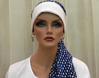 Pre-Tied Head Scarf For Women With Hair Loss. Cancer Headwear, Chemo Head Cover, Alopecia Hat, Head Wrap, Turban, Cancer Gift, Blue White