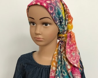 Pre-Tied Head Scarves For Children With Hair Loss, Childhood Cancer, Cancer Gifts, Rainbow Tie Dye