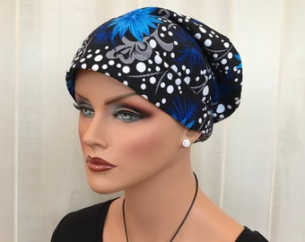 Women's Head Scarf, Cancer Headwear, Chemo Hat, Alopecia Head Wrap, Head Cover, Hair Loss, Cancer Gift, Chemo Gift, Blue Thistles