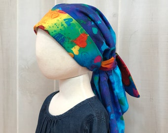 Child's Pre-Tied Head Scarf, Girl's Chemo Hat, Cancer Head Cover, Alopecia Headwear, Head Wrap, Cancer Gift, Hair Loss,  Blue Hearts