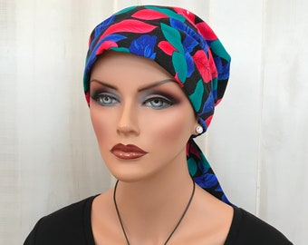 Women's Head Scarf, Cancer Headwear, Chemo Hat, Alopecia Head Wrap, Head Cover, Hair Loss, Cancer Gift, Chemo Gift, Colorful Leaves