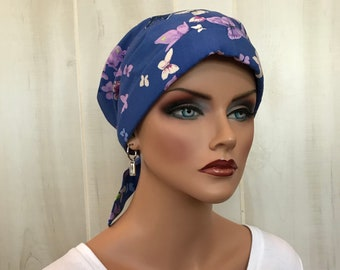 Women's Head Scarf, Cancer Headwear, Chemo Hat, Alopecia Head Wrap, Head Cover, Hair Loss, Cancer Gift, Chemo Gift, Blue Butterflies