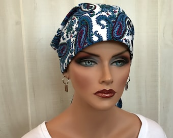 Women's Head Scarf, Cancer Headwear, Chemo Hat, Alopecia Head Wrap, Head Cover, Hair Loss, Cancer Gift, Chemo Gift, Blue Paisley