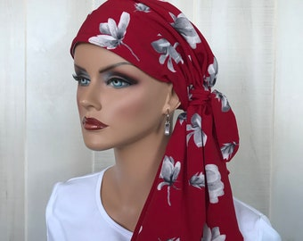 Christmas Pre-Tied Head Scarf For Women With Hair Loss, Cancer Gifts, Chemo Headwear, Headwrap, Red Floral