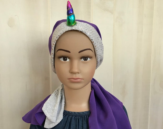 Featured listing image: Child's Pre-Tied Head Scarf, Girl's Chemo Hat, Cancer Head Cover, Alopecia Headwear, Cancer Gift, Hair Loss, Unicorn Purple Silver Sparkles