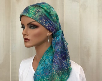 Pre-Tied Head Scarf, Women's Cancer Headwear, Chemo Head Cover, Alopecia Hat, Hair Wrap, Hair Loss, Turban, Cancer Gift, Blue Tie Dye