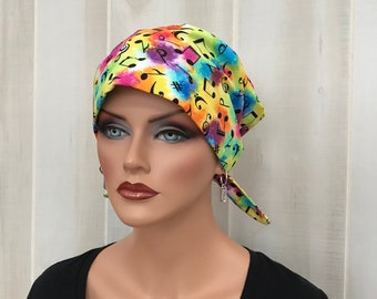 Women's Surgical Scrub Cap, Scrub Hat, Cancer Head Scarf, Chemo Headwear, Alopecia Head Cover, Head Wrap, Cancer Gift, Music Tie Dye