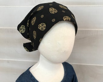 Children's Head Scarf, Girl's Chemo Hat, Cancer Headwear, Alopecia Head Cover, Head Wrap, Cancer Gift for Hair Loss, Gold Sugar Skulls