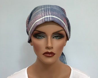 Head Scarf For Women With Hair Loss. Cancer Headwear, Chemo Hat, Alopecia Head Wrap, Head Cover, Turban, Cancer Gift, Blue and Pink Plaid