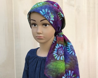 Child's Pre-Tied Head Scarf, Girl's Chemo Hat, Cancer Head Cover, Alopecia Headwear, Head Wrap, Cancer Gift, Hair Loss, Purple Tie Dye Batik