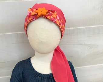 Child's Pre-Tied Head Scarf, Girl's Cancer Headwear, Chemo Hat, Alopecia Head Cover, Head Wrap, Cancer Gift, Chemo Gift, Hair Loss, Coral