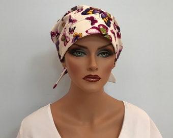Sandra  Women's Surgical Scrub Cap, Cancer Hat, Chemo Scarf, Alopecia Head Cover, Head Wrap, Headwear Hair Loss Purple Butterflies