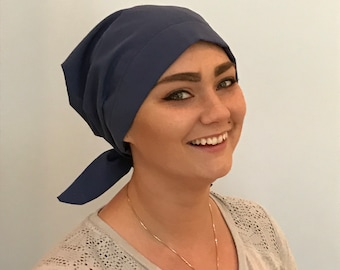 Gabrielle Pre-Tied Head Scarf -Women's Chemo Hat, Cancer Scarf, Alopecia Headwear, Head Wrap, Head Cover for Hair Loss Blue Denim