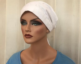 Women's Surgical Scrub Cap, Scrub Hat, Cancer Head Scarf, Chemo Headwear, Alopecia Head Cover, Head Wrap, Cancer Gift, White Eye Light