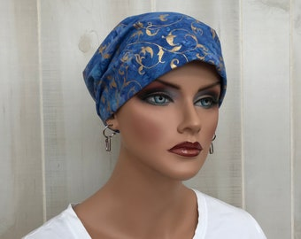 Women's Surgical Scrub Cap, Scrub Hat, Cancer Head Scarf, Chemo Headwear, Alopecia Head Cover, Head Wrap, Cancer Gift, Blue Denim With Gold