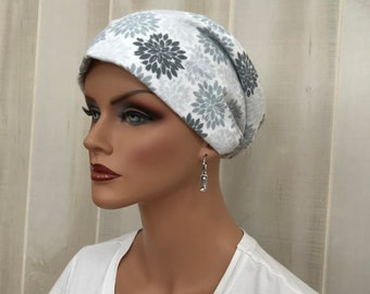 Women's Flannel Head Scarf, Cancer Headwear, Chemo Hat, Alopecia Head Cover, Head Wrap, Hair Loss, Cancer Gift, Chemo Gift, Gray Flowers