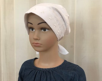 Children's Head Scarf, Girl's Chemo Hat, Cancer Headwear, Alopecia Head Cover, Head Wrap, Cancer Gift for Hair Loss Gift, White Eye Light