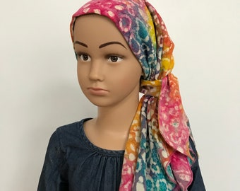 Child's Pre-Tied Head Scarf, Girl's Chemo Hat, Cancer Head Cover, Alopecia Headwear, Head Wrap, Cancer Gift, Hair Loss,  Rainbow Tie Dye
