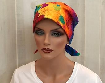 Women's Surgical Scrub Cap, Scrub Hat, Cancer Head Scarf, Chemo Headwear, Alopecia Head Cover, Cancer Gift, Hair Loss, Rainbow Hearts