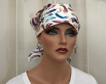 Women's Surgical Scrub Cap, Scrub Hat, Cancer Head Scarf, Chemo Headwear, Alopecia Head Cover, Head Wrap, Cancer Gift, Chemo Gift, Feathers