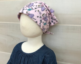 Children's Flannel Head Scarf, Girl's Cancer Hat, Chemo Headwear, Alopecia Head Cover, Head Wrap, Cancer Gift, Hair Loss,  Pink Fairies