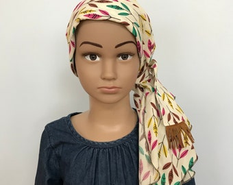Child's Pre-Tied Head Scarf, Girl's Chemo Hat, Cancer Head Cover, Alopecia Headwear, Head Wrap, Cancer Gift, Hair Loss, Feathers