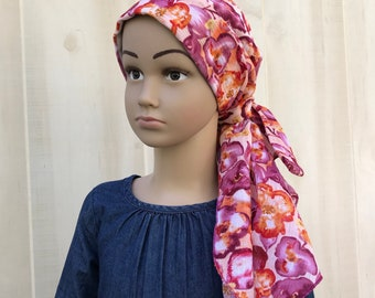 Child's Pre-Tied Head Scarf, Girl's Chemo Hat, Cancer Head Cover, Alopecia Headwear, Head Wrap, Cancer Gift, Hair Loss, Purple Burnt Orange
