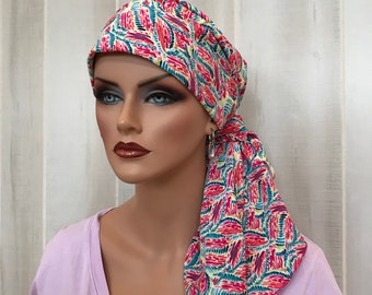 Pre-Tied Head Scarf For Women With Hair Loss. Cancer Headwear, Chemo Head Cover, Alopecia Hat, Head Wrap, Turban, Cancer Gift, Pink Feathers