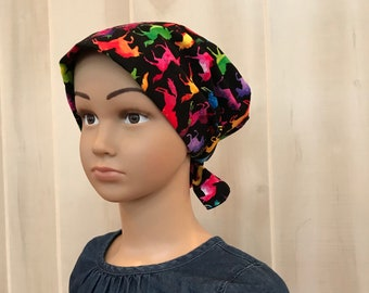 Children's Head Scarf, Girl's Chemo Hat, Cancer Headwear, Alopecia Head Cover, Head Wrap, Cancer Gift for Hair Loss, Tie Dye Unicorns