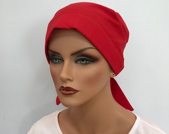 Sandra Women's Surgical Scrub Cap, Chemo Hat, Cancer Scarf, Alopecia Head Wrap, Head Cover, Cancer Gift, Hair Loss, Red